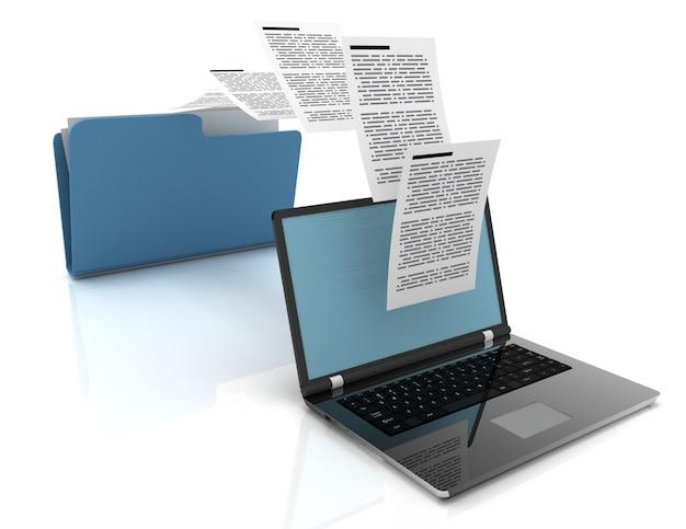 노트북과 폴더 간의 파일 전송. 3d 그림입니다.