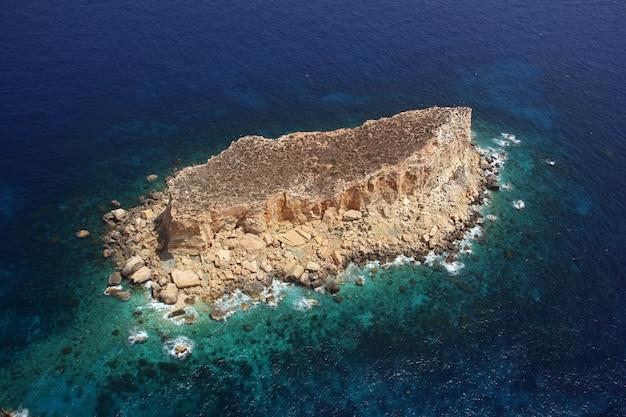 Filfla malta islet, aerial view