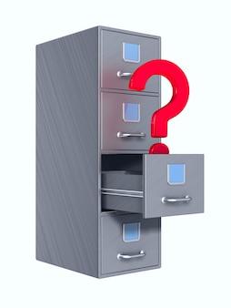 ファイリングキャビネットと質問。分離された3dレンダリング