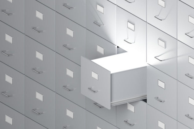 Filing cabinets with open drawers background office document data and information archive storage