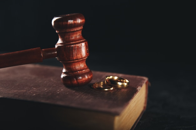 Filing divorce papers or premarital agreement prepared by lawyer
