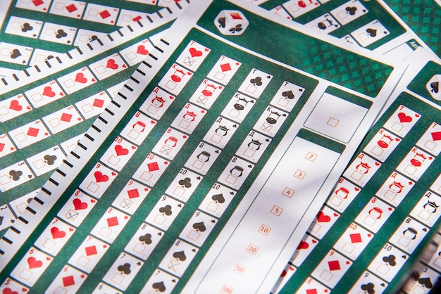 Filled lottery tickets close up, playing lottery or bingo has a chance to win the jackpot
