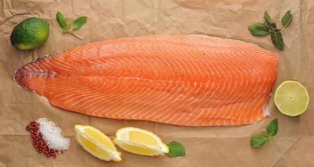 Fillet of raw salmon