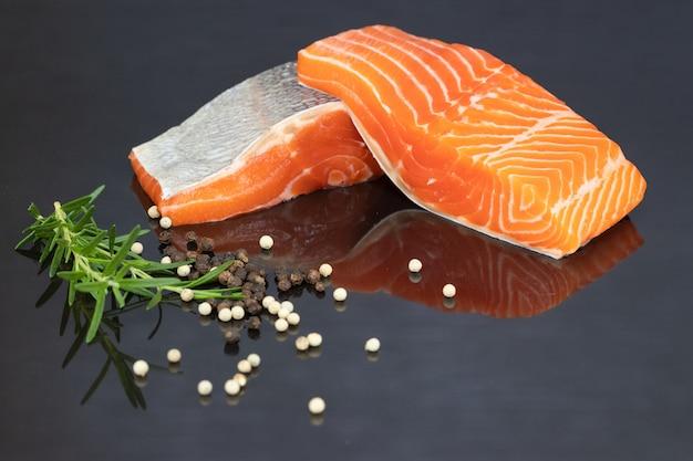 Fillet of salmon on black