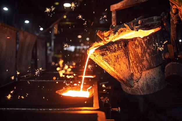 Заполнение формы горячим жидким чугуном и производство деталей из железа на сталеплавильном заводе.