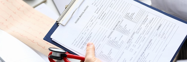 Filling out patient medical history, personal data
