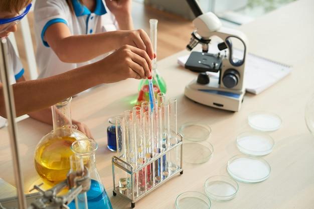 Filling test-tubes