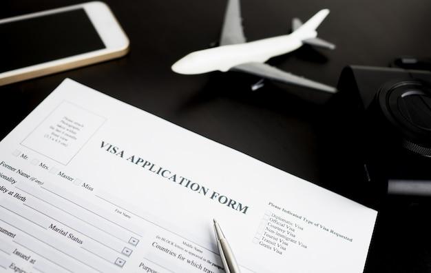 Filling travel visa application form for vacation
