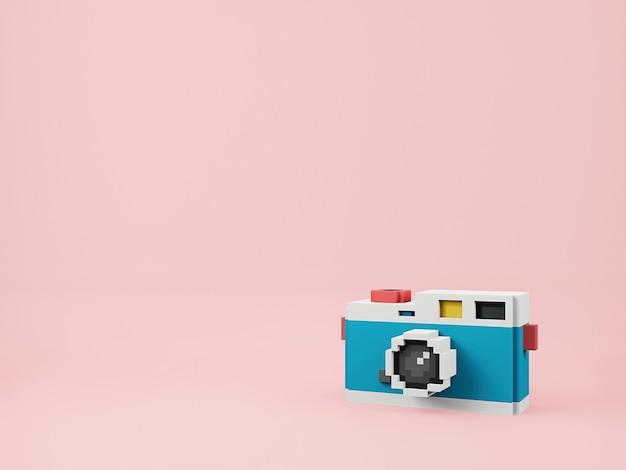 분홍색 배경에 필름 카메라