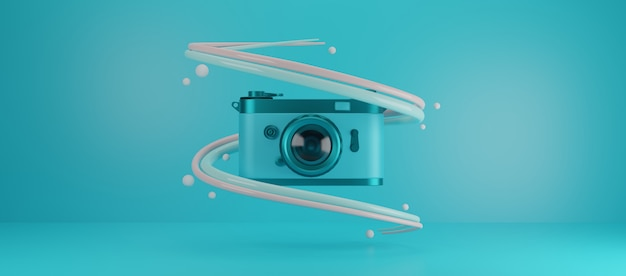 Film camera with blue background
