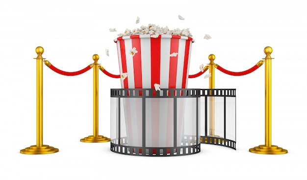 A film and popcorn on a background of pillars with a red rope. 3d rendering.