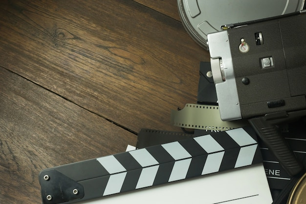 Film production behind the scenes flat lay image for background.