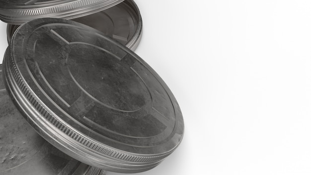 Film reel cases  3d rendering for behind the scene content.