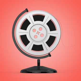 Film reel with cinema tape in the shape of earth globe on a pink background. 3d rendering