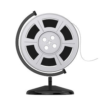 Film reel with cinema tape in the shape of earth globe on a white background. 3d rendering