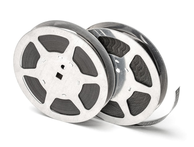 Film reel with filmstrip isolated on white background.
