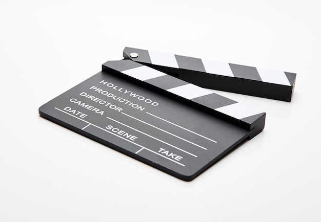 Film slate lying open against white