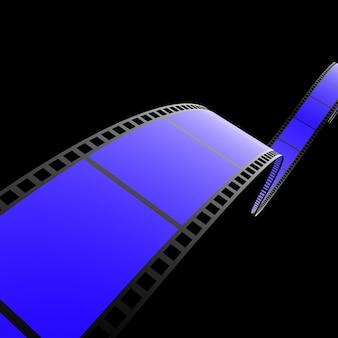 Film strip in blue on black background