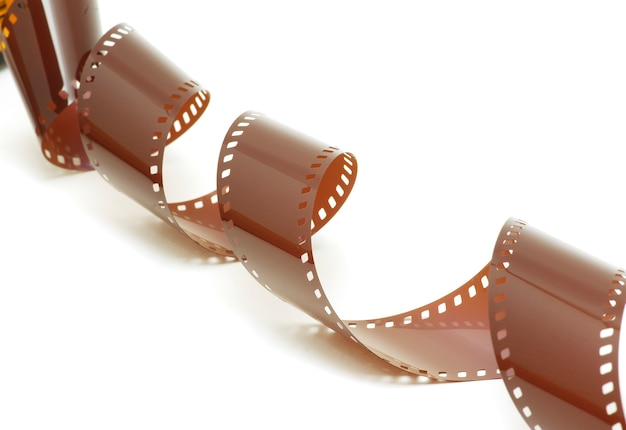 Film strip in front of a white background