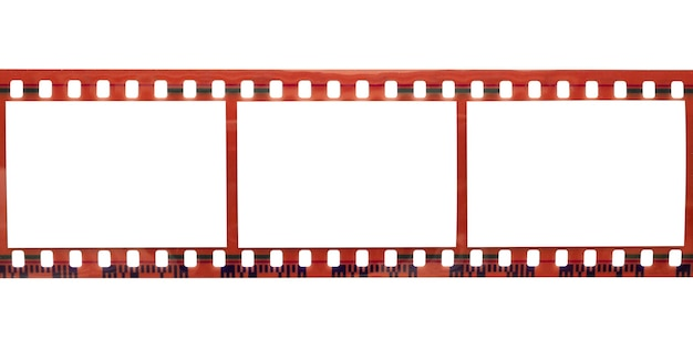 Film strip with copy space blank picture frames for photo isolated on white background