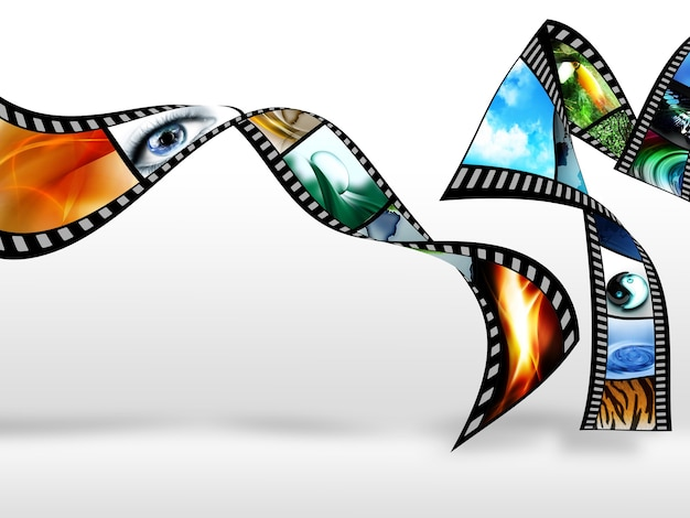 Film with color pictures on a light background