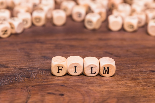 Film word written on wooden cubes