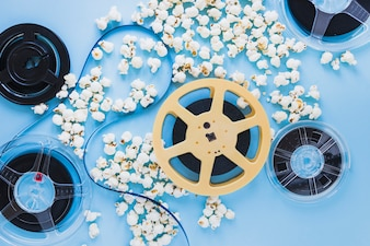 Filmstrip on tapes in popcorn