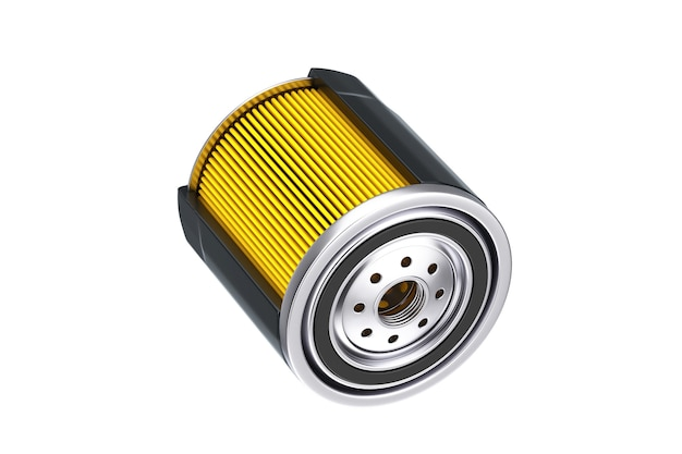 흰색 바탕에 검은색 하우징에 새 자동차 오일 필터가 있는 필터 요소. 3d 렌더링
