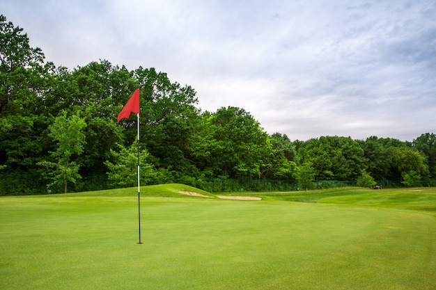 Final hole with flag, lawn on golf course