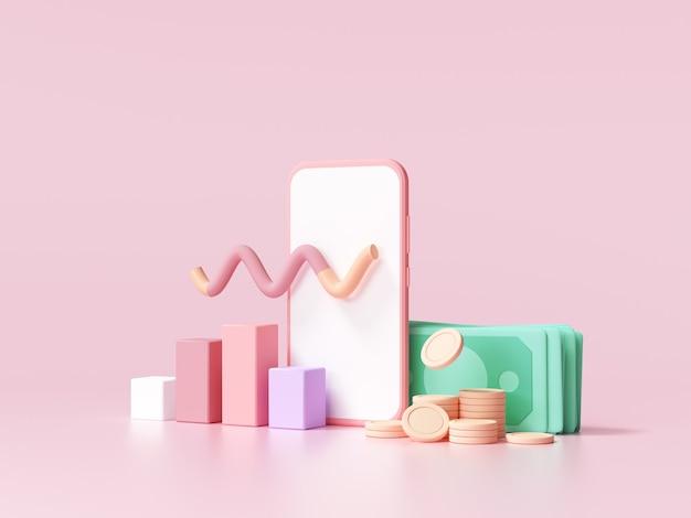 ピンクの図、コイン、紙幣を使った財務分析コンセプトの電話