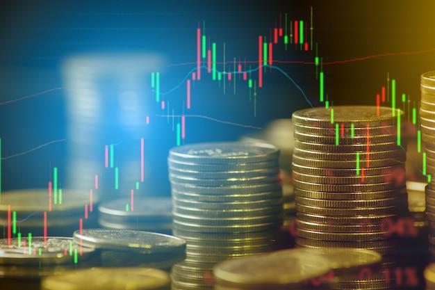 금융 및 비즈니스 개념 배경 및 외환 거래 그래프