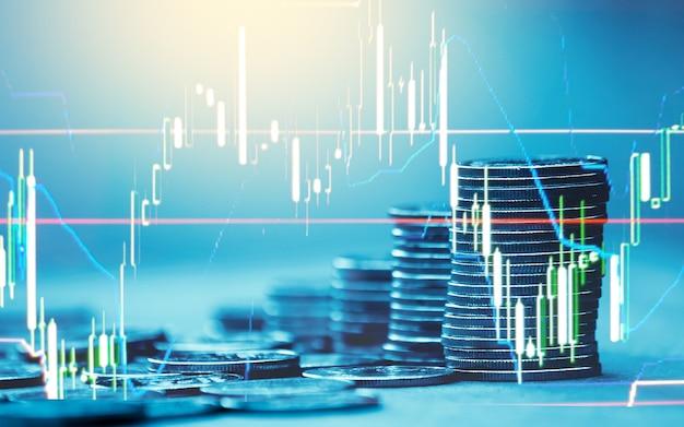 金融とビジネスコンセプトの背景と外国為替取引グラフ