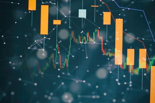 금융 및 투자 개념입니다. 컴퓨터 모니터에서 전문적인 기술적 분석을 위한 볼륨 분석을 포함한 다양한 유형의 지표가 있는 금융 상품 차트.