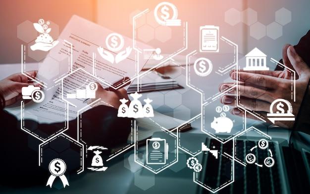 金融とお金の取引技術の概念