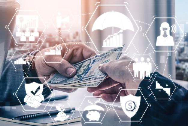 金融とお金のトランザクション技術の概念。