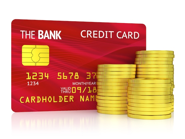 Finance, banking and wealth concept. red plastic credit card and stack of golden coins isolated