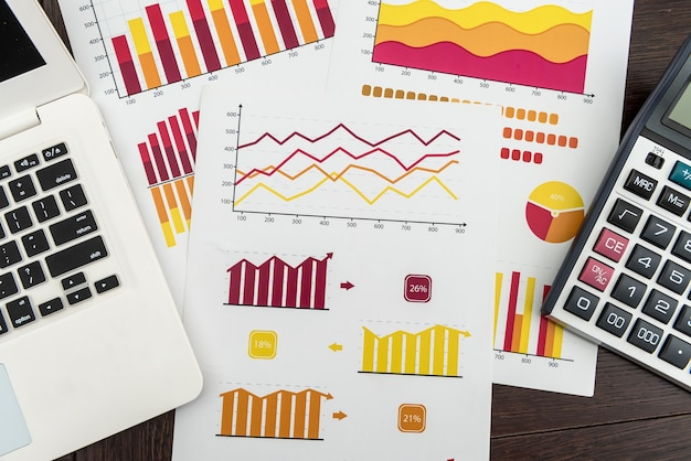 Finance chart with laptop pen and calculator for financial analyst, work at office