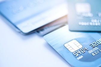 Finance concept,Selective focus microchip on Credit card or Debit card.