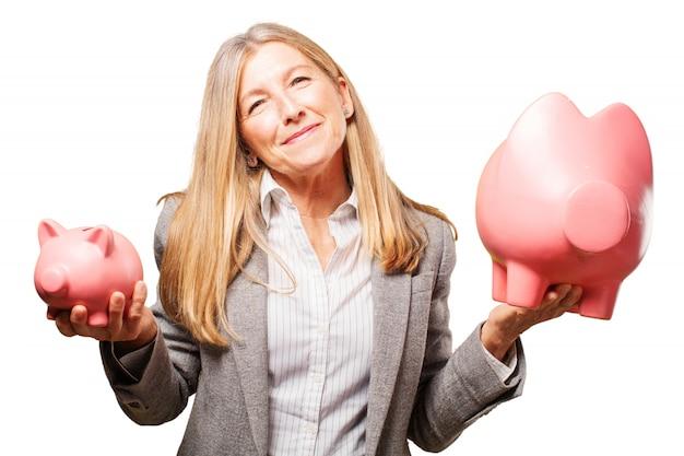 Finance cool businessman piggy cash