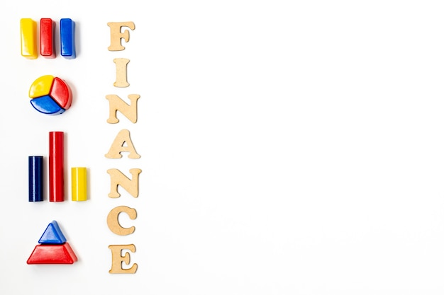Finance diagrams with copy space background