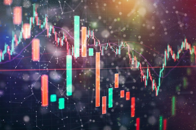 Finance and investment concept. charts of financial instruments with various type of indicators including volume analysis for professional technical analysis on the monitor of a computer.