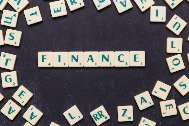 Finance word made with scrabble letters