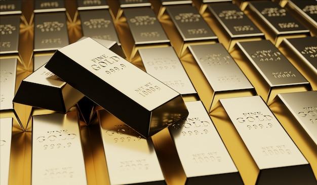 金の価値、成功、financial.3dレンダリングに関する金地金の概念