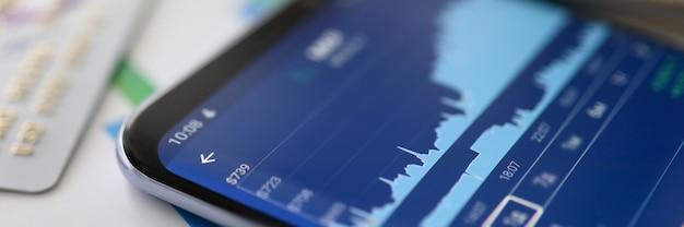 재무 분석. 성장 그래프 거래. 주식 시장 데이터
