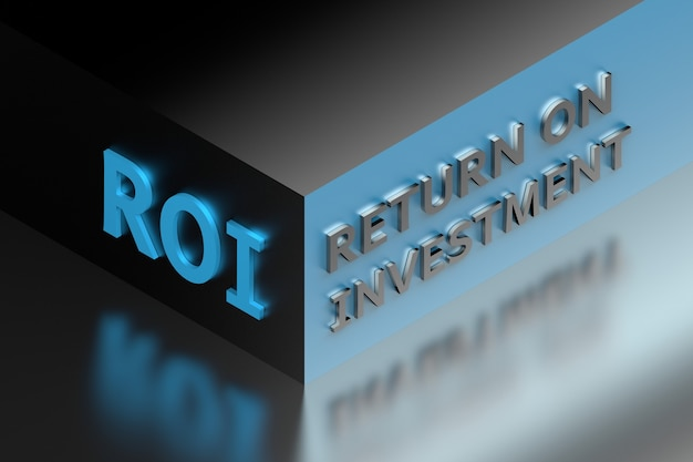 Аббревиатура финансового бизнеса roi означает «возврат инвестиций» на углу куба темно-синего цвета. 3d иллюстрации.