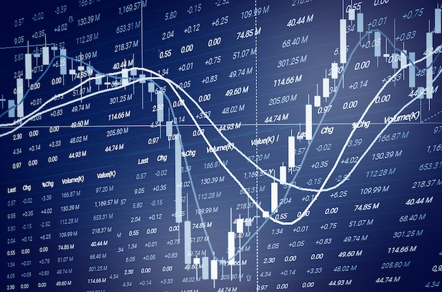 Financial business graph chart analysis stock market graph. stock market or forex trading graph and candlestick chart indicator for financial investment