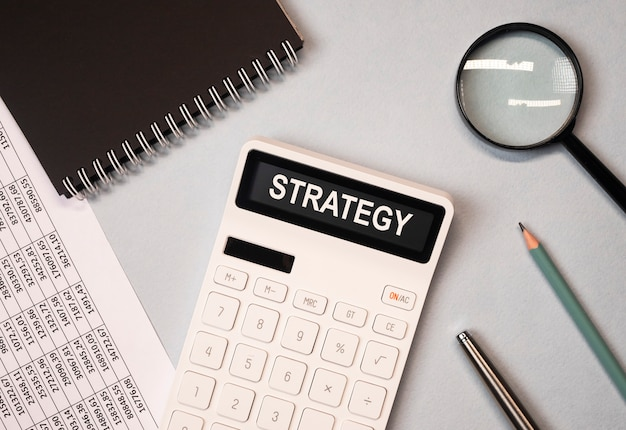 Financial business strategy word, inscription on documents.