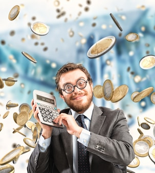 Financial businessman astonished by wealth and success