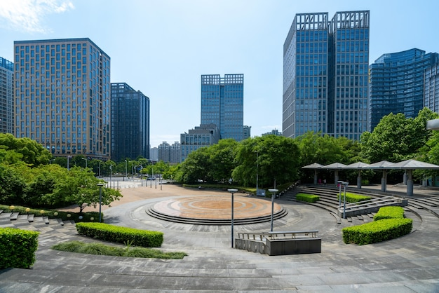 Financial center square and office building in hangzhou, china