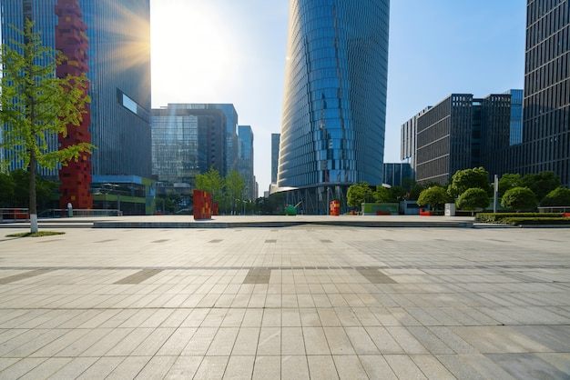 Financial center square and office building in ningbo, china